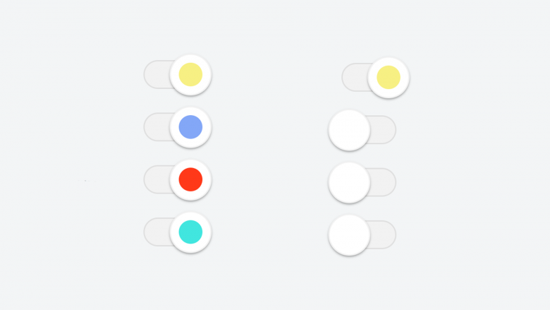 colorful flat material radio and checkbox slider